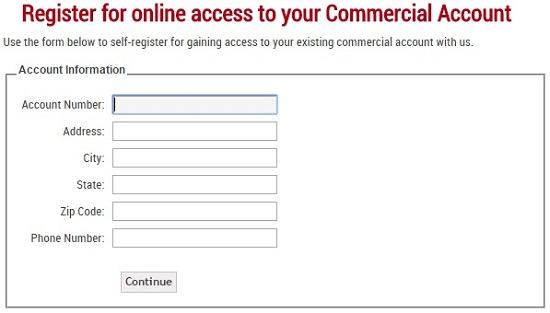 FAQ Image 2 - Commercial Account Registration Form Screenshot Image