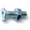 1/4-20 X 1       Phillips Flat Machine Screws w/ Nuts Zinc 5/pk 0