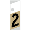 "1"" - 2 Black/Gold Slanted Aluminum Numbers 0"
