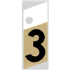 "1"" - 3 Black/Gold Slanted Aluminum Numbers 0"