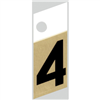 "1"" - 4 Black/Gold Slanted Aluminum Numbers 0"