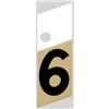 "1"" - 6 Black/Gold Slanted Aluminum Numbers 0"