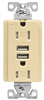 Receptacle Duplex Tamper Resistant Ivory 15Amp w/ Dual USB Chargers TR7755V-K-L 0