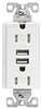 Receptacle Duplex Tamper Resistant White 15Amp w/ Dual USB Chargers TR7755W-K-L 0