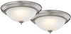 "Light Fixture Ceiling LED Flush Mount Brushed Nickel 13"" 3000k 2Pk ZD13-BN-C 0"