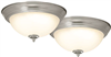 "Light Fixture Ceiling LED Flush Mount Brushed Nickel 11"" 3000k 2Pk 4200-LED- BN 0"
