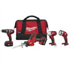 "Combo Kit Milwaukee 2695-24 1/2"" Drill/Driver, Reciprocating Saw, 1/4"" Impact Driver & Flashlight M18 0"