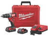 Drill Milwaukee Drill Driver 18V Compact W/ 2-Batteries,1-18V Charger M18 2801-22Ct 0