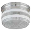 "Light Fixture Ceiling Chrome 8-3/4"" w/ White Ring on Lens F14CH02-80023L 0"