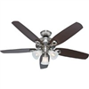 "Ceiling Fan Hunter 52"" Brush Nickel 53237 0"